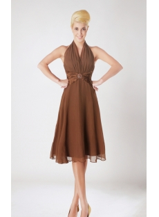 Short Halter Chiffon Brown Junior Brown Dresses SOV112008