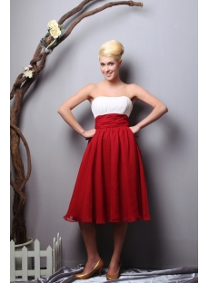 Simple Chiffon White and Burgundy Short Graduation Dress SOV112013