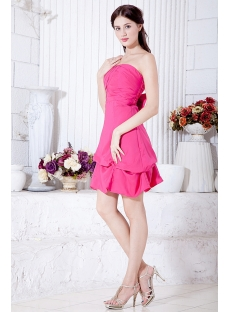 Simple Strapless Hot Pink Mini Length Homecoming Dress under $100 IMG_7050