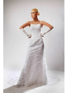 Spaghetti Straps Antique Lace Wedding Dress SOV110012