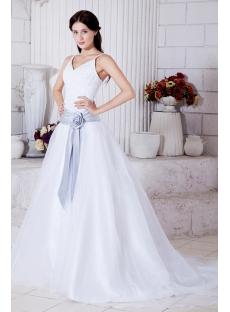Spaghetti Straps Princess Wedding Dress with Sash 2013 Spring IMG_7737