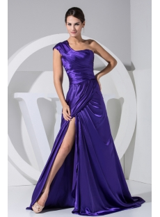 Spring Pretty Blue One Shoulder High Split Prom Dress WD1-043