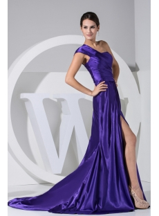 Spring Pretty Blue One Shoulder High Split Prom Dress WD1-043