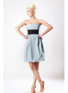 Strapless Blue Classical Modest Bridesmaid Dress with Black Waistband SOV112006