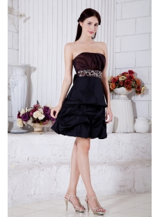 Strapless Brown and Black Short Quince Gown with Bow IMG_7364