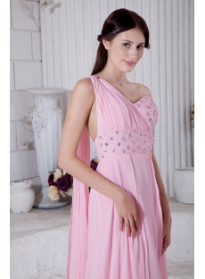 Summer Nectarean Pink Chiffon One Shoulder Graduation Dresses Criss Back with Sash IMG_7746