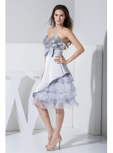 Sweet Silver Sequins Short Pretty Prom Dress with Bow WD1-015