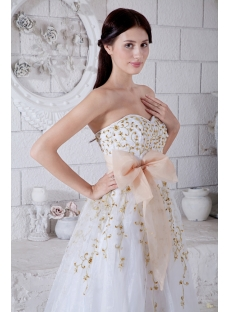 Sweetheart Floor Length 2011 White Quinceanera Dress with Gold Embroidery IMG_7681