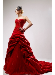 Sweetheart Red Princess Bridal Gown with Chapel Train SOV110040