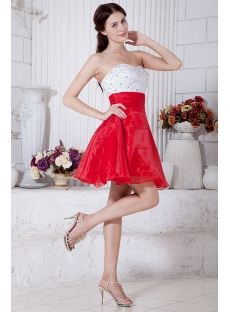 Sweetheart White and Red Colorful Short Quinceanera Dresses IMG_7119