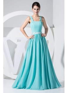 Tank Straps Teal Plus Size Prom Dress Long Simple WD1-016