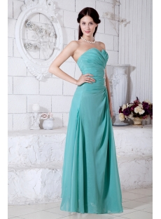 Teal Chiffon Beach Ankle Length Bridesmaid Dress with Sweetheart IMG-7762