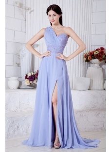 Turquoise One Shoulder Split Front Graduation Dresses with Train IMG_7424