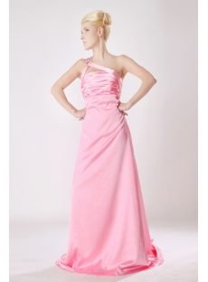 Unique Pink One Shoulder Sexy Evening Gown with Open Back SOV111007