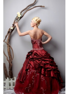 Unique Strapless Long Burgundy Quinceanera Dresses 2013 Spring SOV113005