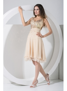V-neckline Gold Sequins Cocktail Dress WD1-004
