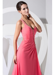 Water Melon Brilliant Open Back One Shoulder Side Split Sexy Evening Dress 2013 WD1-029