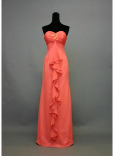 Water Melon Long Beach Bridesmaid Dress IMG_7456
