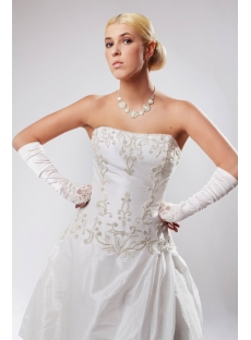 White Cheap Plus Size Wedding Gowns Strapless with Embroidery SOV110030