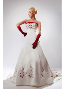 White Plus Size Bridal Gown with Red Embroidery SOV11002