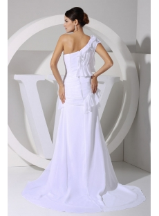 White Sexy One Shoulder Beach Wedding Dress with High Split for Summer WD1-060