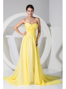 Yellow Sweetheart Illusion Back Beach Wedding Dress WD1-050