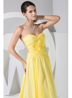 Yellow Sweetheart Illusion Back Beach Wedding Dress WD1-050