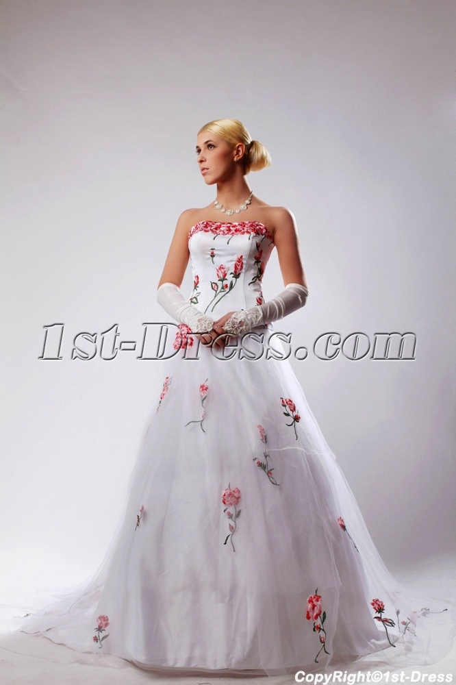2013 Beautiful Wedding Dresses with Embroidery Flowers