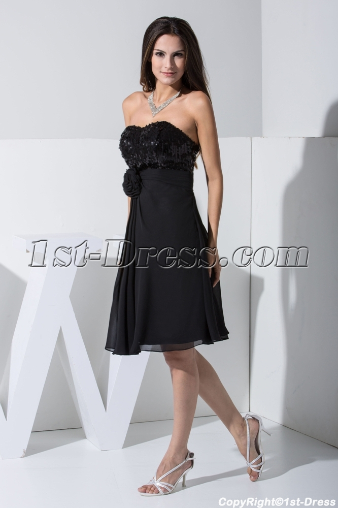 2013 Sweetheart Short Black Sequin Casual Prom Dress WD1-013:1st ...