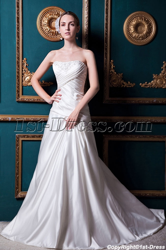 Beautiful Simple Western Bridal Gown with Train IMG_1683:1st-dress.com