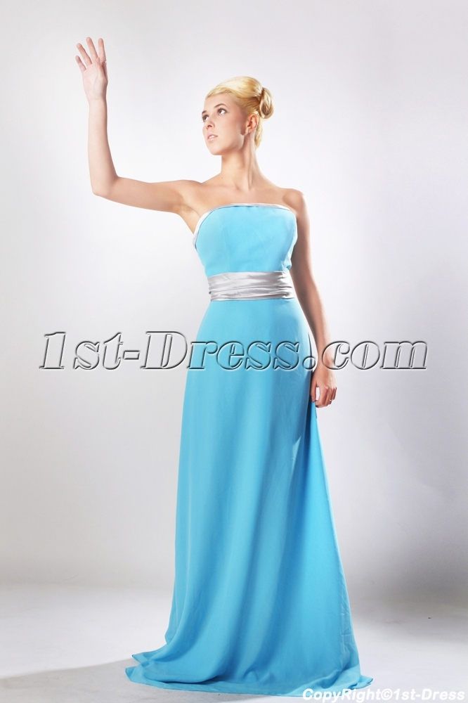 9b81c60412 Blue Floor Length Chiffon Bridesmaid Dress with Silver Waistband SOV112003