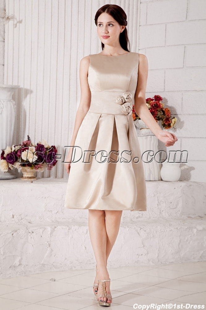 Champagne Formal Simple Bridesmaid Dress Modest Tea Length under ...