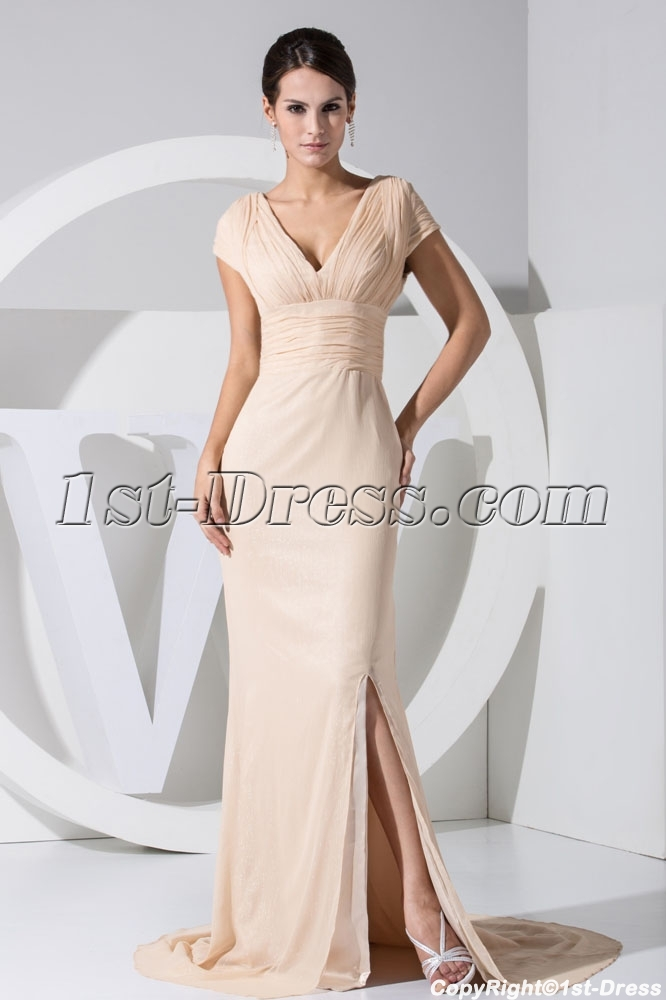 Champagne Short Sleeves Beautiful Celebrity Evening Dress WD1-034 ...
