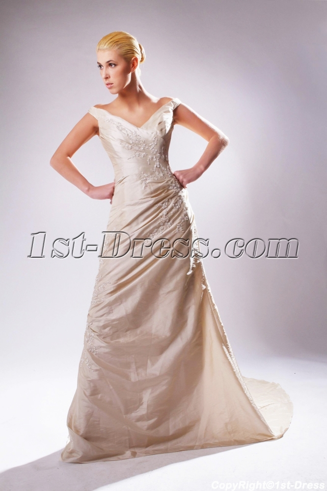 Champagne V-neckline Mature Bridal Gown UK SOV110016:1st-dress.com
