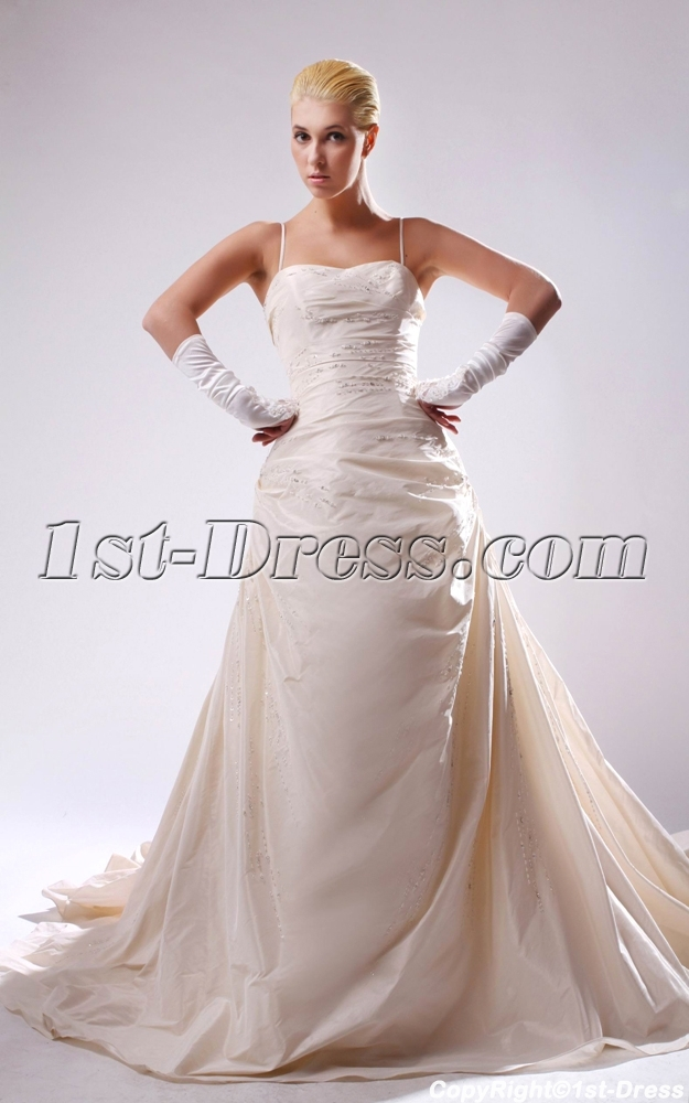 Champagne wedding dresses plus size with spaghetti straps for Plus size champagne colored wedding dresses