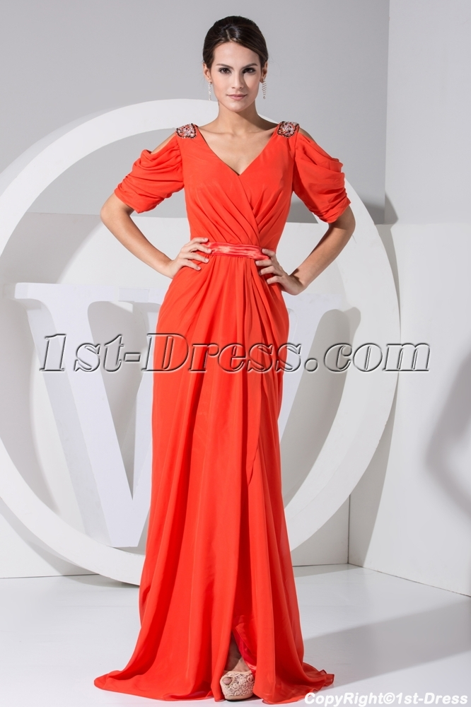 Cheap Plus Size Orange Prom Dresses with Short Sleeves WD1-042 $204.00