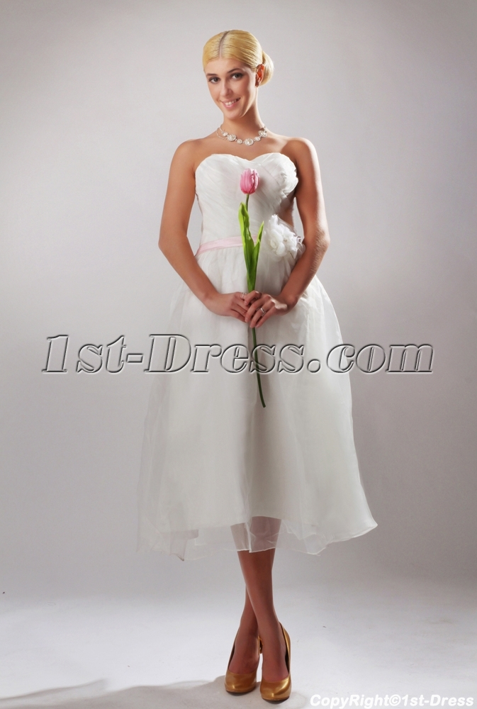 Cheap Short Tea Length Bridal Gown with Pink Ribbon SOV110042:1st ...