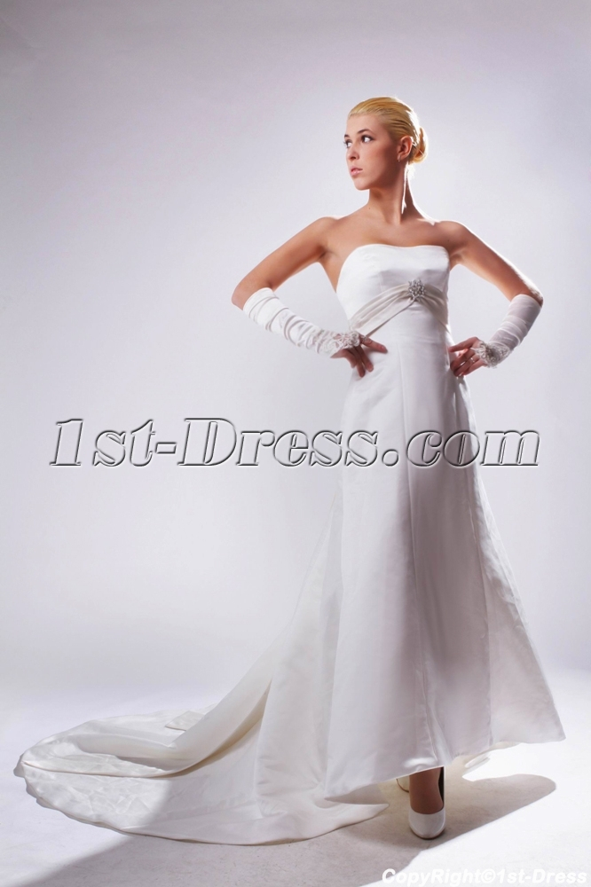 Cheap strapless simple ivory elegant bridal gown with for Simple elegant wedding dresses cheap