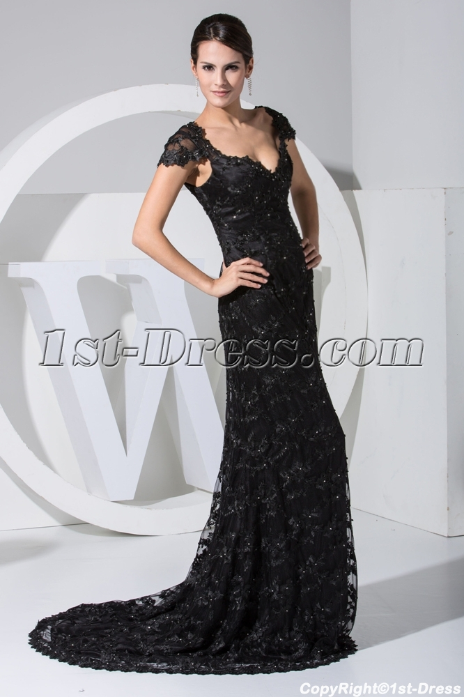 Classical Black Lace Formal Evening Dress with Cap Sleeves WD1-023 ...