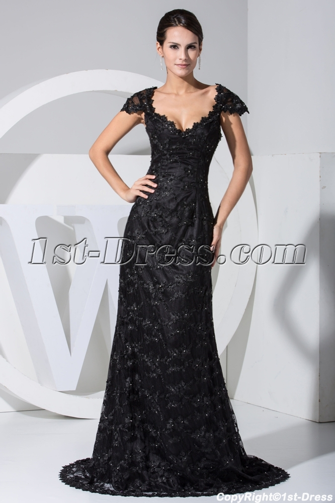 43a99fd3f5 Classical Black Lace Formal Evening Dress with Cap Sleeves WD1-023 1st-dress .com