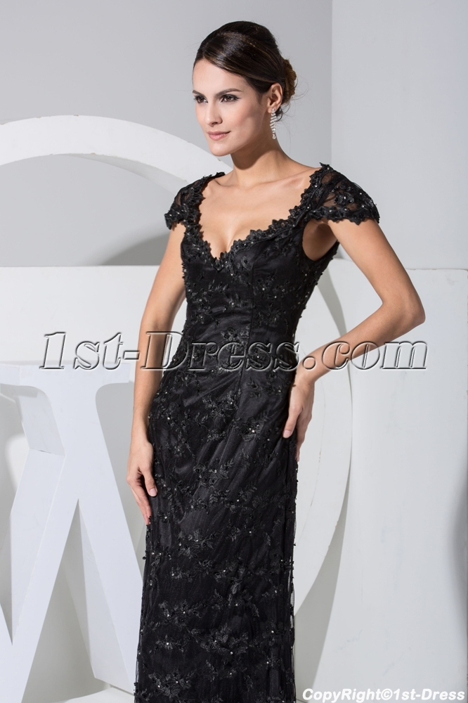 Classical Black Lace Formal Evening Dress With Cap Sleeves Wd1 023