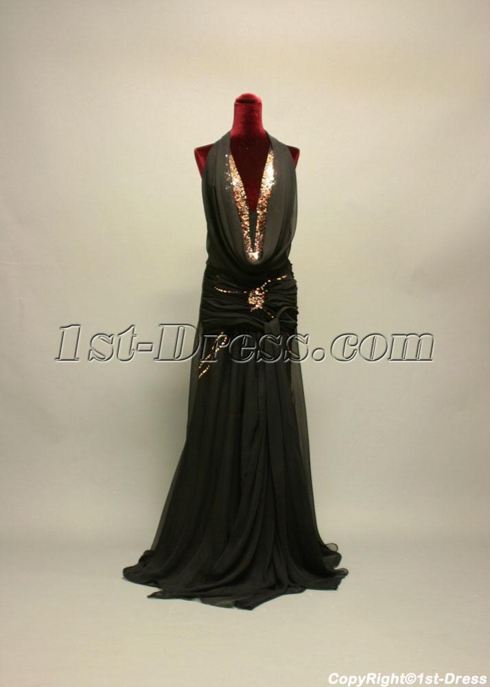 Cowl Black with Gold Plus Size Prom Dress IMG_7169:1st-dress.com