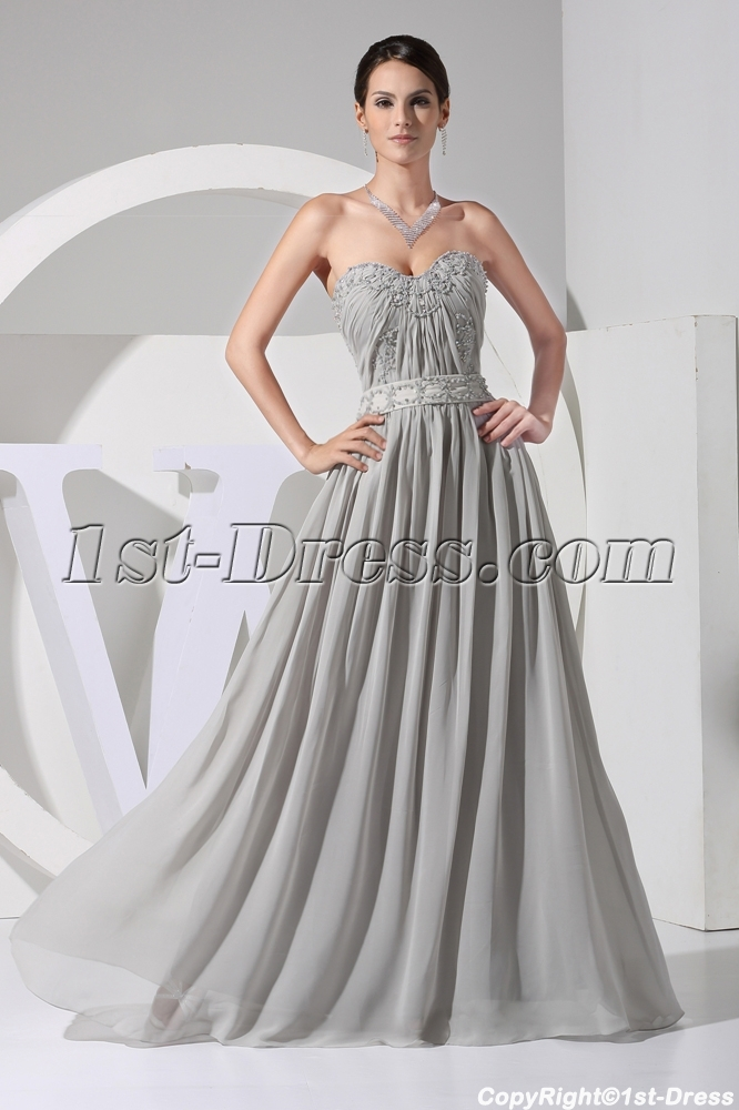 Elegant Gray Plus Size Chiffon Evening Gown WD1-057:1st-dress.com