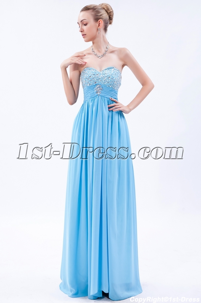Exquisite Aqua Empire Long Pregnancy Evening Dress Img