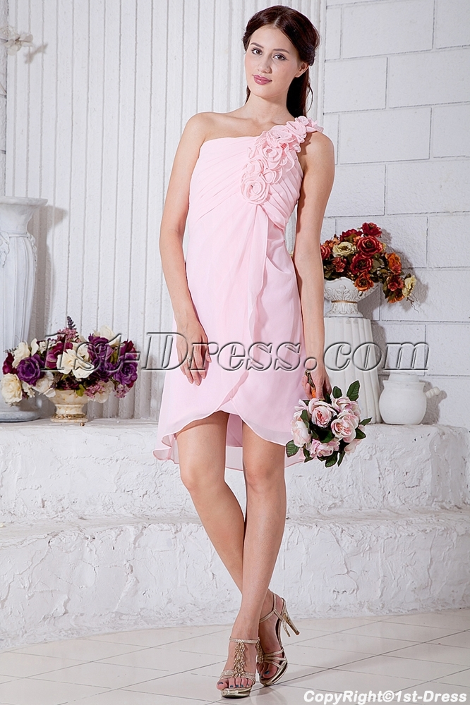 Flower One Shoulder Chiffon Pink Short Junior Prom Dress Img7037