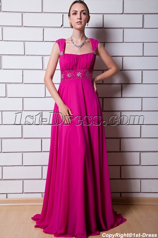 Fuchsia Beaded A-line Sweetheart Sweep Train Tulle Taffeta Prom ...