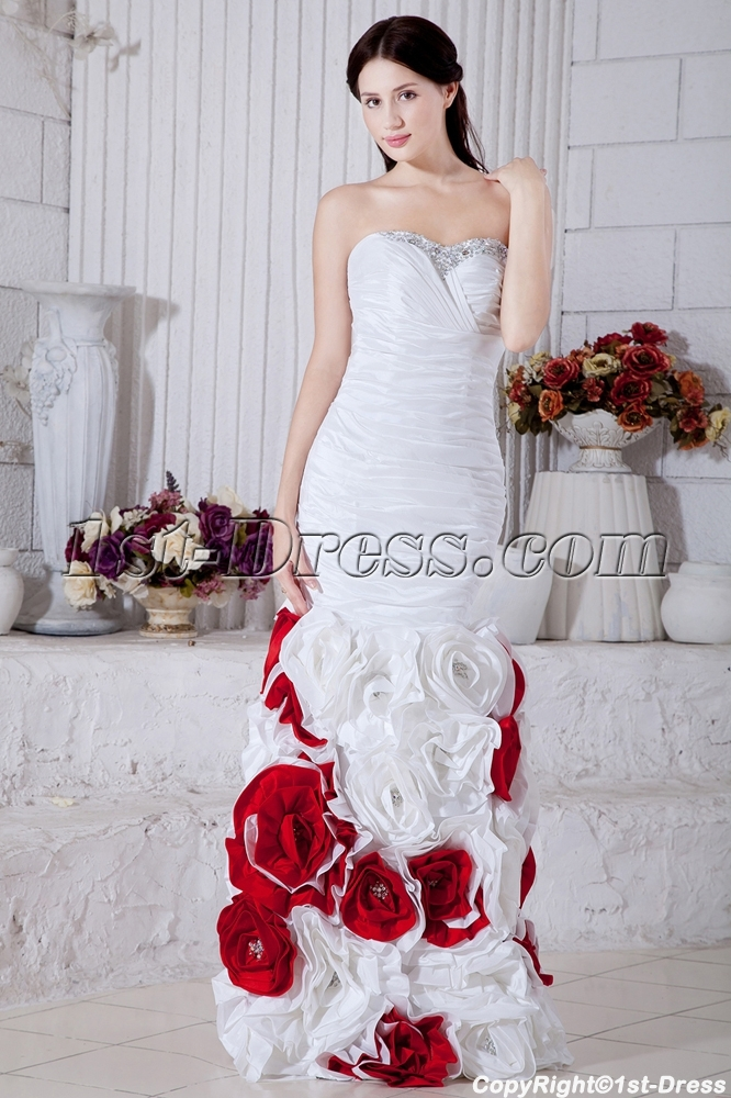 Gentle Floral 2013 Mermaid White and Red Ball Gown Dress 2013 ...