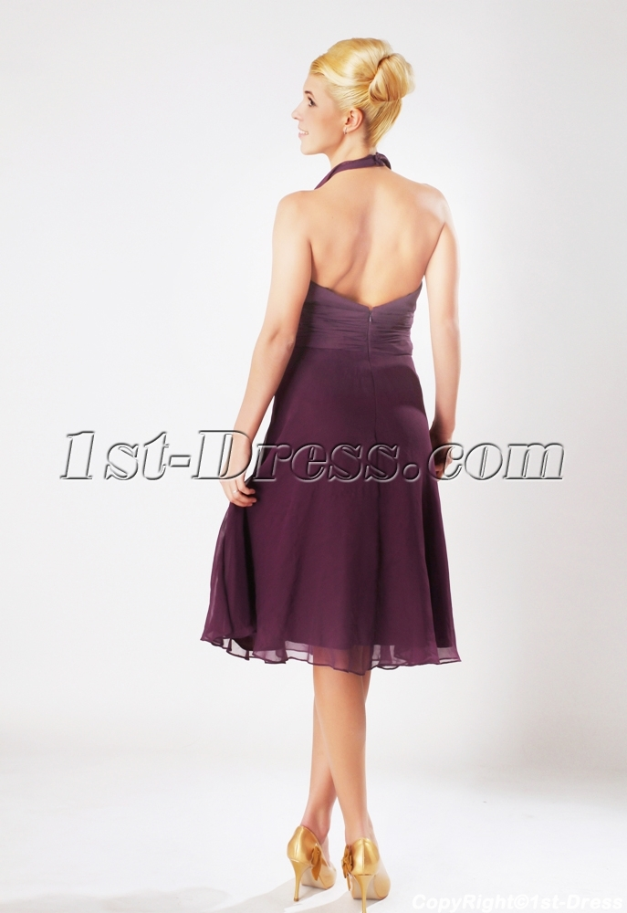 6595a88c71 Grape Halter Chiffon Knee Length Junior Bridesmaid Dresses SOV112004 (Free  Shipping)