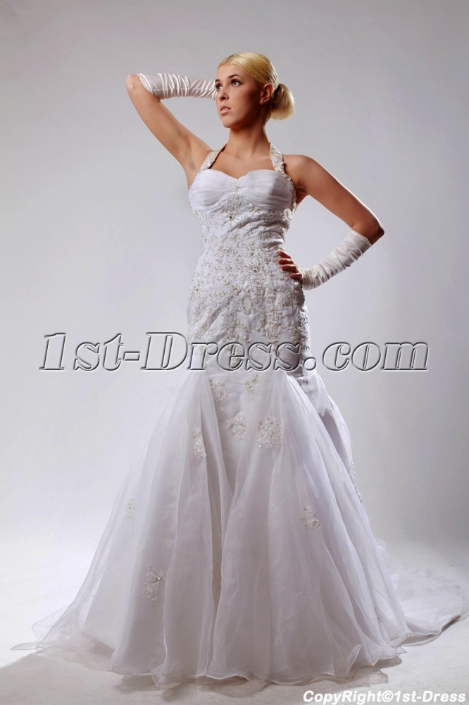 Halter Mermaid Wedding Dresses With Sweetheart Neckline
