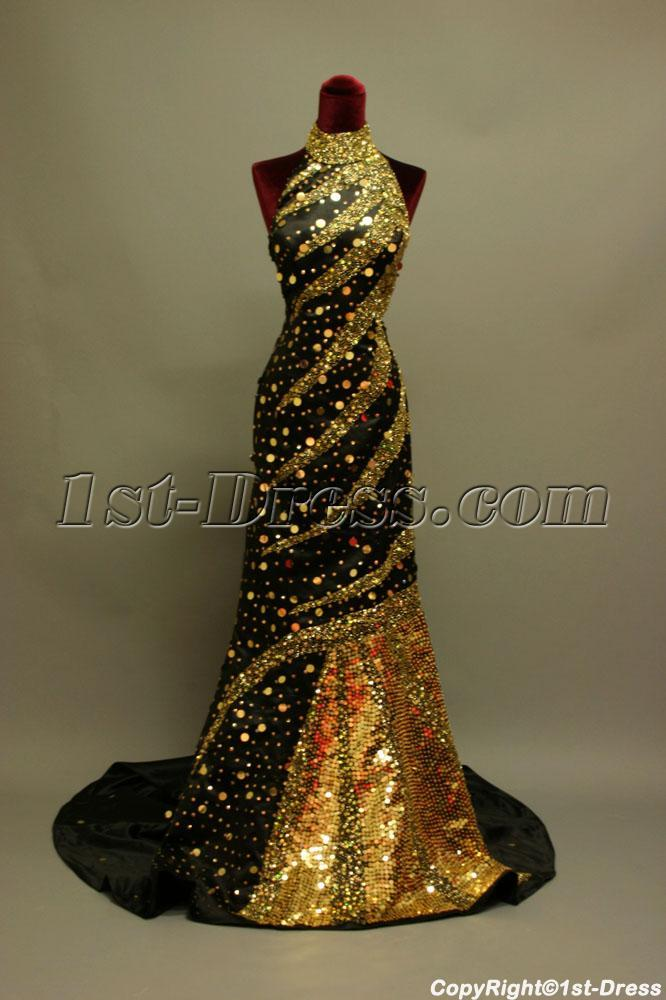 High Neckline Gold And Black Luxurious 2013 Evening Dress Img6867